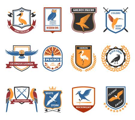 escudo: p�jaros ex�ticos y salvajes colecci�n emblemas plana con el arte del pavo real etiqueta de estudio de ilustraci�n abstracta aislado del vector Vectores