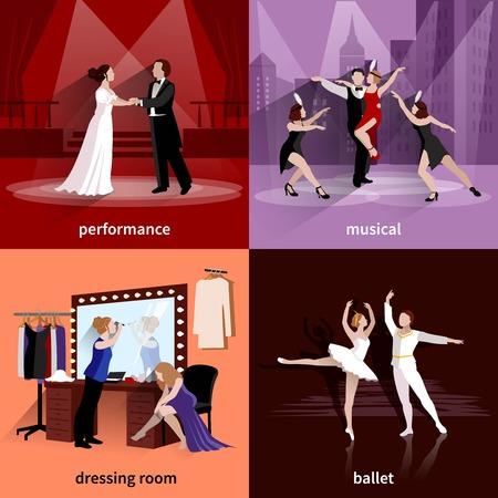 La gente en escenas de teatro musical y presentación de ballet en el vestidor de 2x2 imágenes de pantalla plana conjunto ilustración vectorial