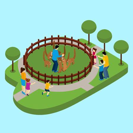 animaux du zoo: Contacter zoo avec des personnes et des lémurs sur fond bleu vecteur isométrique illustration