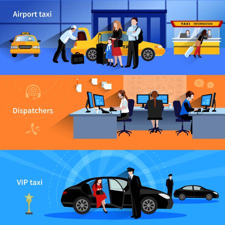 Set of 3 horizontal banners presenting airport taxi dispatchers and vip taxi flat vector illustration