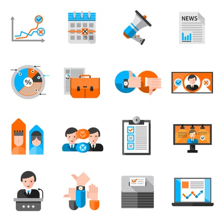 political: Colored icons for elections voting report and presentation or website isolated vector illustration