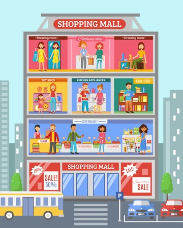 Shopping mall center store section with grocery and clothing  departments sale customers poster abstract flat vector illustration Vectores