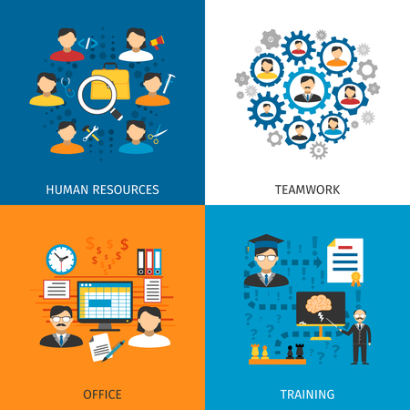 office staff: Human resources office staff management and training concept 4 flat pictograms square composition abstract isolated vector illustration