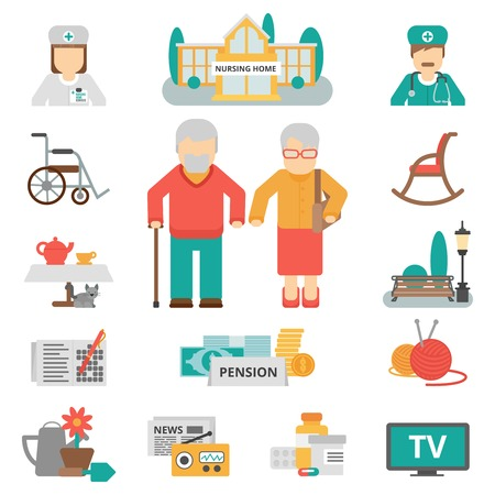 home care: Senior lifestyle flat color icons set with elderly family couple nursing home and items for leisure activities isolated vector illustration