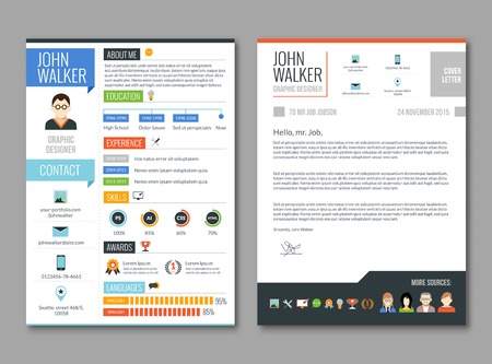 work experience: Two pages job candidate cv template with work experience resume vector illustration Illustration