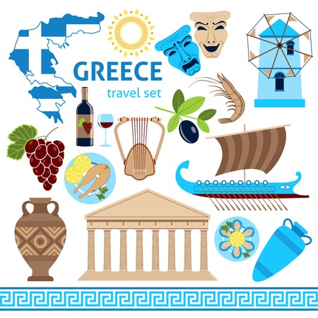 greece map: Travel agency greece cultural tours poster with national historical symbols flag and country map flat vector illustration