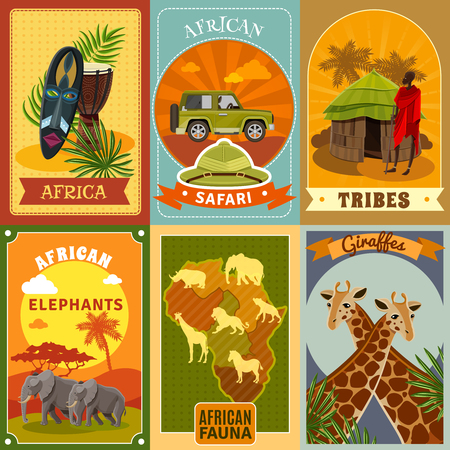 safaris: African safari cartoon posters set with tribes and fauna symbols isolated vector illustration Illustration