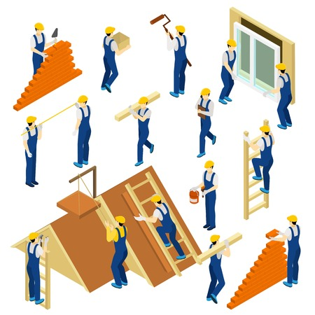 ladder: Builder isometric set with uniform materials and equipment isolated vector illustration Illustration