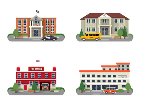 building fire: Municipal buildings icons set with police department fire station school and hospital isolated vector illustration