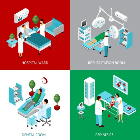 Hospital departments and resuscitation room with healthcare professional and patients 4 isometric icons square abstract vector  illustration