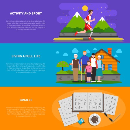 disabled sports: Disabled people active live information 3 flat horizontal banners set with sport and braille abstract isolated vector illustration Illustration