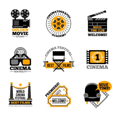film: Cinema and film labels with director chair 3d glasses cinema tickets projector flat signs isolated vector illustration