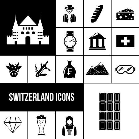 lady cow: Switzerland symbols black icons set with chocolate watches beer isolated vector illustration