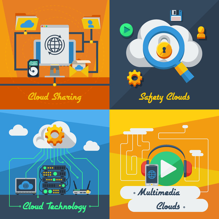 syncing: Cloud service 2x2 flat design concept set of technology sharing safety and multimedia resources vector illustration Illustration
