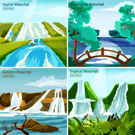 tree service pictures: Waterfall landscapes 2x2 design concept with pictires of alpine north tropical and decorative waterfalls flat vector illustration Illustration