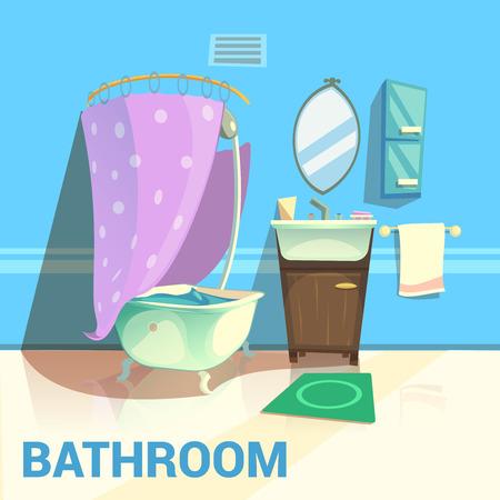 Bagno di design retrò con acqua e sapone specchio da bagno fumetto illustrazione vettoriale Archivio Fotografico - 52694844