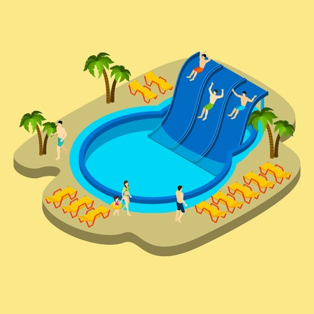 water park: Water park and swimming with palms and chaise lounges on yellow background isometric vector illustration