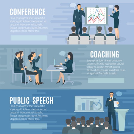 Public speech coaching and visual aids presentation skills information 3 horizontal banners set abstract isolated illustration vector
