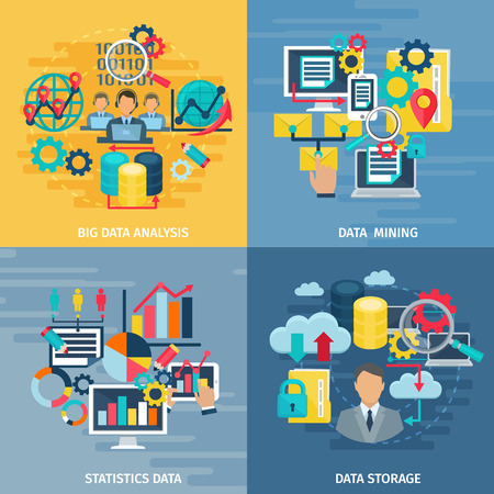 computer icon set: Big data mining analysis and storage technology 4 flat icons square composition banner abstract isolated illustration vector