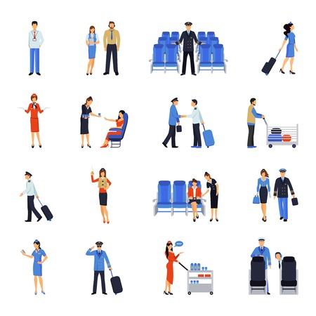 パイロットとスチュワーデスが、動作、飛行中や空港フラット アイコン コレクション抽象的なベクトル図で