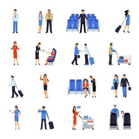 passenger airline: Pilot and stewardess at work during the flight and at the airport flat icons collection abstract vector illustration
