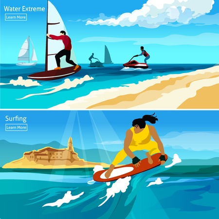 watercraft: Water extreme and surfing compositions with people  on watercraft surfboard hydrocycle flat vector illustration Illustration