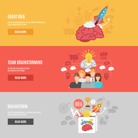 brainstorming: Horizontal banners set with abstract pictures of great idea brainstorm and team brainstorming flat vector illustration Illustration
