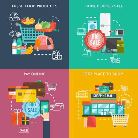 social network service: Shopping design concept set with food products and home devices flat icons isolated vector illustration Illustration