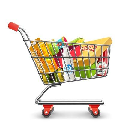 cromo: Autoservicio de supermercado carrito lleno carrito de la compra con productos comestibles frescos y mango rojo ilustraci�n vectorial realista