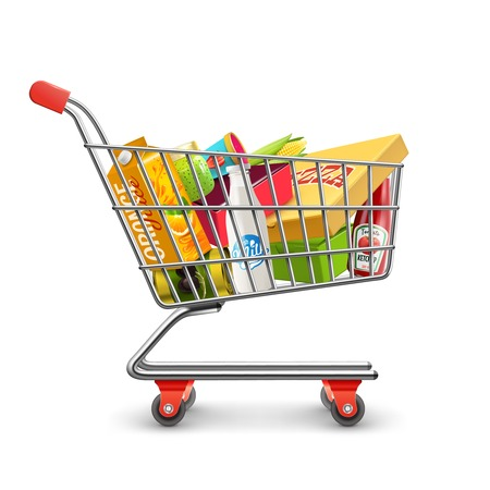 supermarket checkout: Self-service supermarket full shopping trolley cart with fresh grocery products and red handle realistic vector illustration Illustration