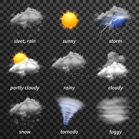 Realistische pictogrammen van het weer op een transparante achtergrond vector illustratie