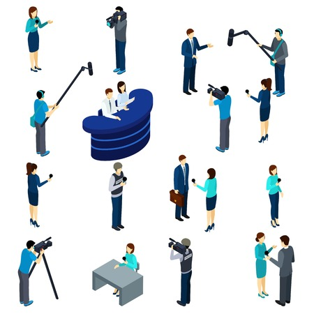 the reporting: Journalists at work isometric icons set of conducting interviews reporting and broadcasting professionals abstract isolated vector illustration