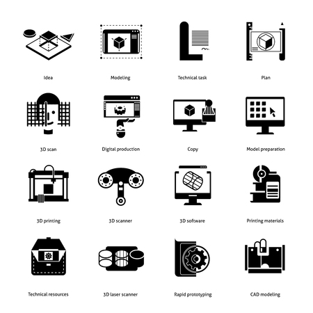 Prototyping and modeling black icons set with idea and technical task symbols flat isolated vector illustration