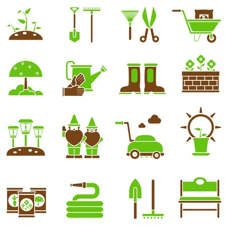 gardening hose: Gardening icons set with flat plant cultivation equipment isolated vector illustration
