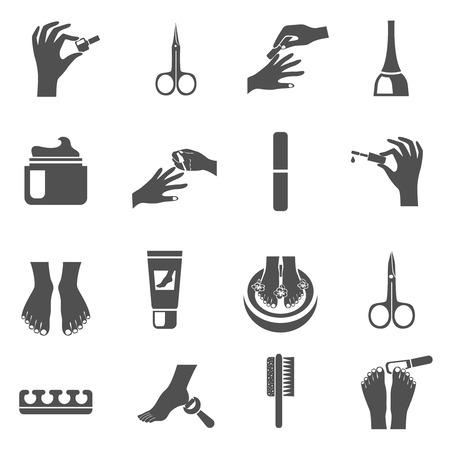 Maniküre und Pediküre schwarze Symbole mit Wasser Fußmassagemaschine und Nagellack abstrakt isoliert Vektor-Illustration gesetzt