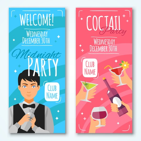 barmen: Flat cocktail invitations to midnight party with barmen and hands with wineglasses and bottle in retro style vector illustration