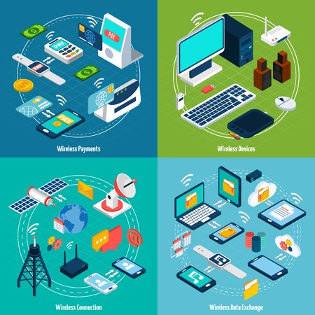 antenna: Wireless technologies design concept set with payment and data exchange devices isometric icons isolated vector illustration