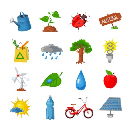 recycling symbols: Eco flat icons set with nature and recycling symbols isolated vector illustration Illustration