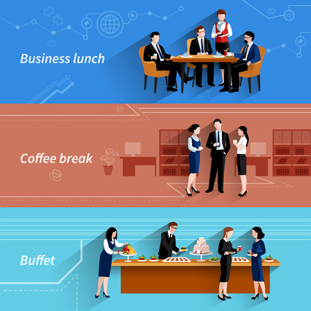 lunch: Business lunch coffee break and buffet service at work flat horizontal banners set abstract isolated vector illustration