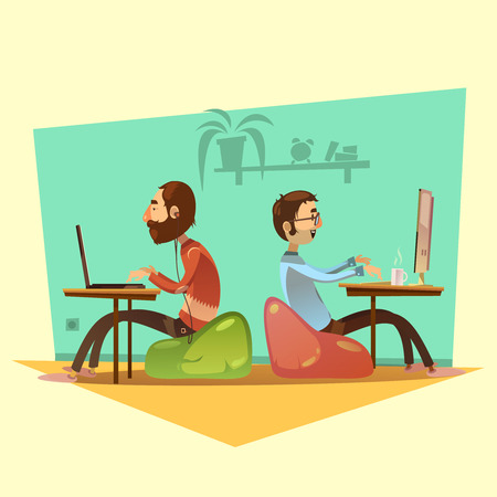 Coworking cartoon set with computers coffee and seats on yellow background vector illustration