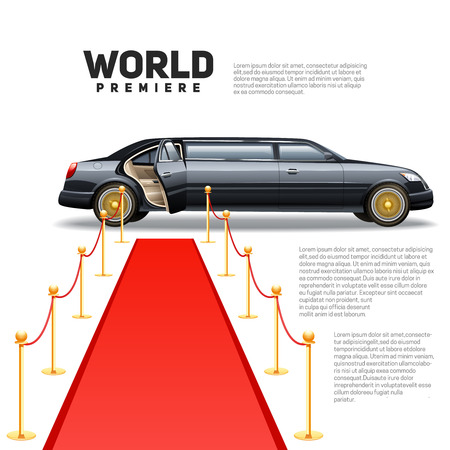 celebrities: Luxury limousine car and red carpet for world premiere celebrities and guests poster with quotes text vector illustration
