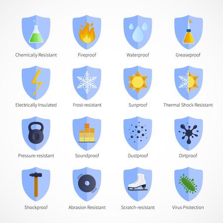 De protección a prueba de emblemas planas con signos ignífugos insonorizadas impermeable sunproof y comentarios sobre fondo blanco aislado ilustración vectorial