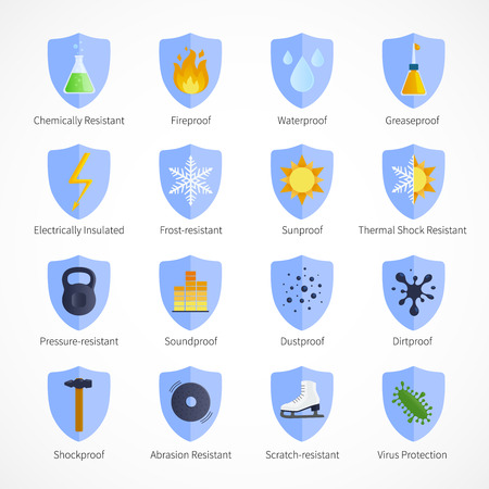 fireproof: Protection proof flat emblems with  waterproof soundproof sunproof fireproof signs and commentaries on white background isolated vector illustration Illustration