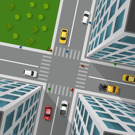 rules of road: City street top view 3d design concept with crossroad cars buildings and markings of pedestrian crossings vector illustration
