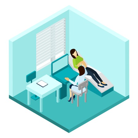 Pregnancy ultrasound scan with woman and female doctor isometric vector illustration