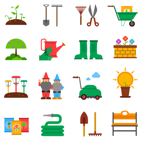 seedlings: Gardening flat icons set with seedling tools and plants isolated vector illustration