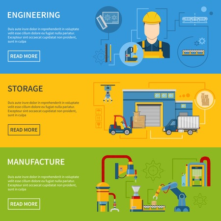 Production line process with different stages of development banner set vector illustration Vektorové ilustrace