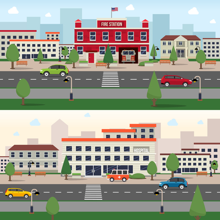 building fire: Municipal buildings horizontal banner set with fire station and hospital outdoors isolated vector illustration