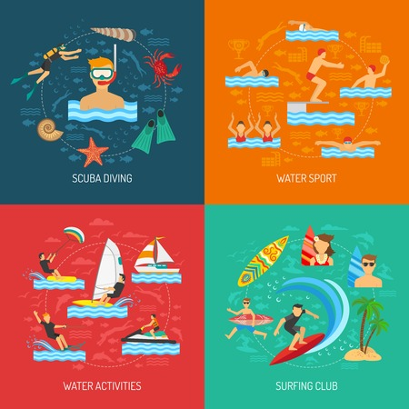 diving board: Water sport 2x2 flat design concept with people physical activity in scuba diving surfing and water games vector illustration