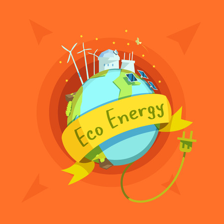 cartoon earth: Ecological energy retro cartoon with globe and eco power stations on it vector illustration